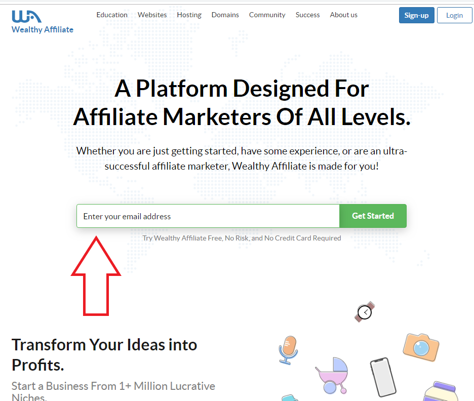 Wealthy Affiliate front page 2