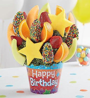 Happy birthday fruit bouquet