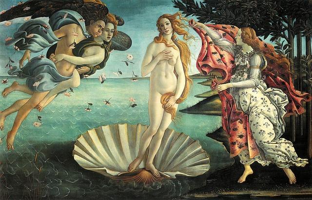 Goddess Venus at her birth moment
