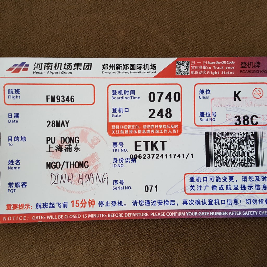 Air ticket from Zheng Zhou to Shanghai Pudong