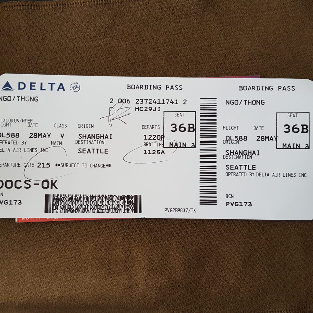 Air ticket with Delta from Shanghai to Seattle