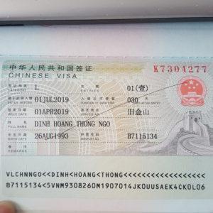 my Chinese Visa L type