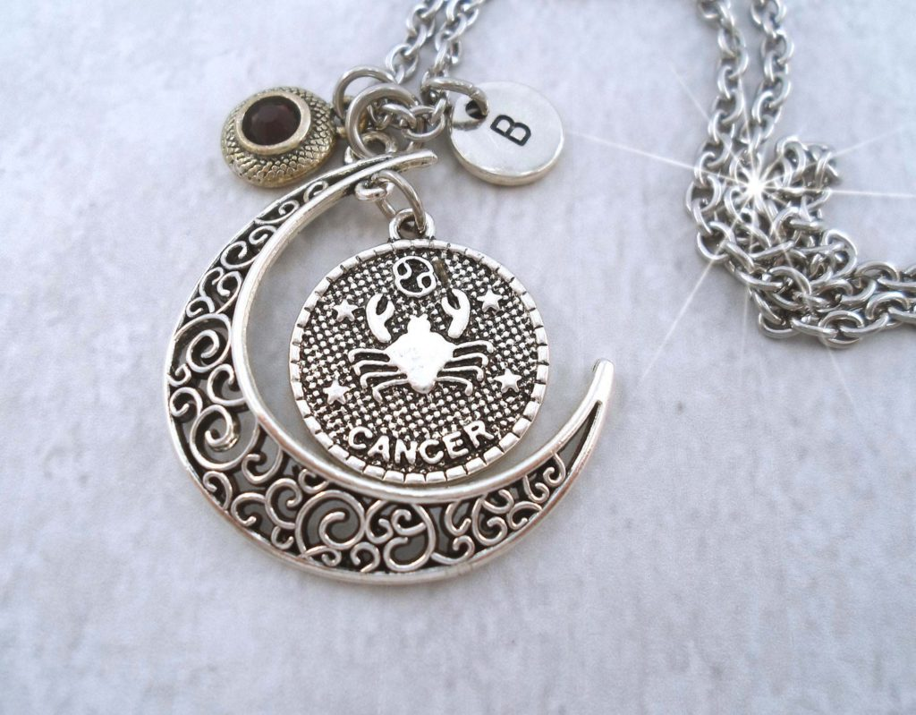 Cancer Zodiac Necklace Filigree Crescent Moon