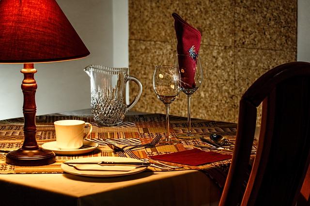 dinner table in romantic restaurant