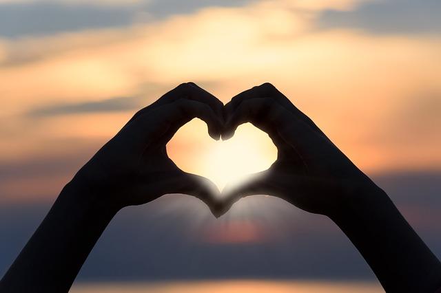 heart shape under sunrise