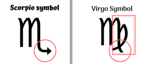 difference symbol between scorpio and virgo