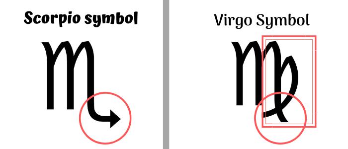 difference symbol between scorpio and virgo