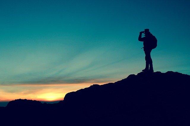man travel to mountain