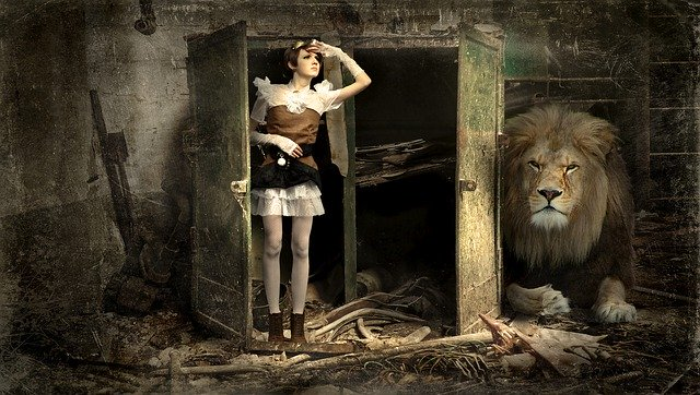 woman and lion in the lost place
